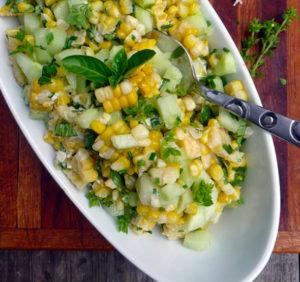 Basil Chive Cucumber Corn Salad
